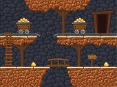 image of arcade  - Seamless gold mine background with additional objects - JPG