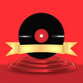 Musical Vinyl Record With A Gold Ribbon On A Red Podium