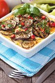 pic of aubergines  - Moussaka dish with aubergine and chili pepper - JPG