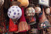 Turkish colorful glass lights and bags