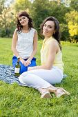 Two young pretty brunette girlfriends open a bottle of wine on the meadow during the picnic