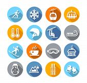 Collection of winter icons representing skiing and other winter outdoor activities in flat design st