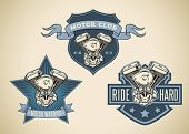 Set of vintage styled labels with image of motorcycle engine. Editable vector illustration.