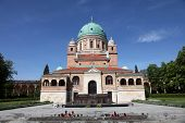 ZAGREB, CROATIA - APRIL 29: Church of Christ the King, Mirogoj cemetery in Zagreb, Croatia on April