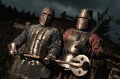 image of knights  - Squad of two medieval knights on the night rural background - JPG