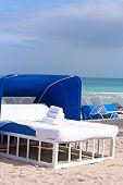 Spa bed on the ocean beach.