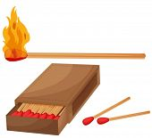 Illustration of matches and a match box