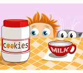 picture of baby cat  - A baby and a cat looking at cookies and a cap of milk - JPG