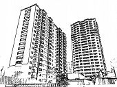Illustration with the image of multi-storey buildings
