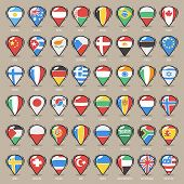 Set of Cartoon Map Pointers With World States Flags