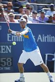 Two times Grand Slam champion Lleyton Hewitt practices for US Open 2013
