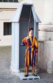 VATICAN CITY, VATICAN - AUGUST 1: Famous Swiss Guard surveil basilica entrance on August 1, 2014 in