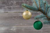 Holiday Ornaments Hanging From Blue Spruce Tree Branch