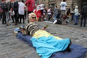 EDINBURGH- AUGUST 16: Member of Raving Mask Theatre publicize their show The Noctambulist during Edinburgh Fringe Festival on August 16, 2014 in Edinburgh Scotland