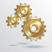 Vector illustration of metallic golden cogwheels