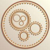 Vector illustration of metallic copper gear wheels