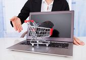 Businesswoman With Shopping Cart Model And Laptop