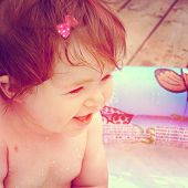 Baby in pool - With Instagram effect
