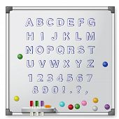 White board with colored markers and handrawn alphabet. Vector illustration