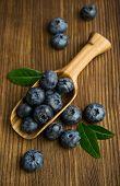 Fresh Blueberries In A Wooden Scoop