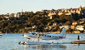 Cessna seaplane taxiiing