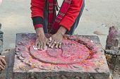 Buddhist Paryer Hands On Sacred Buddha Feet Foot Sign In Stone, Kathmandu
