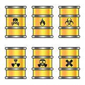 Yellow metallic barrels with warning signs