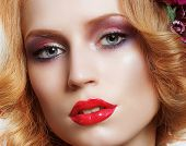 Portrait Of Snazzy Enchanting Woman With Bright Make-up