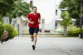 Athlete Runner Man Sweating After Running In The Garden