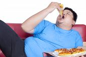 picture of obese  - Obese person eats pizza while sitting on couch at home - JPG