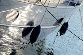 Two Boat Fenders, Protecting The Side Of A Sailing Vessel As It Heads Into Port