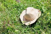 Straw Cowboy Hat On Green Grass