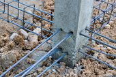 foto of rod  - Steel rods used to reinforce concrete in construction - JPG