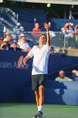 Professional tennis player Gilles Simon from France during US Open 2014round 4 match