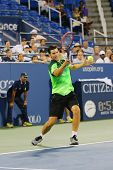 Professional tennis player Dominic Thiem from Austria during US Open 2014 round 4 match