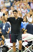 Seventeen times Grand Slam champion Roger Federer celebrates victory after round 4 match at US Open