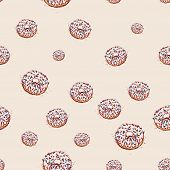 Donut With White Cream Hand Drawn Sketch On Pink Background. Seamless Pattern Vector