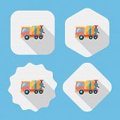 Transportation Cement Mixer Flat Icon With Long Shadow