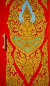 traditional Thai style art painting the divinity on window