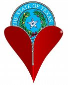 picture of zipper  - A red heart with a zipper showing Texas Atate Seal rising from within - JPG