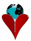 stock photo of zipper  - A red heart with a zipper showing the Earth rising from within - JPG