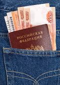 Russian Rouble Bills, Train Tickets  And Passport In The Back Jeans Pocket