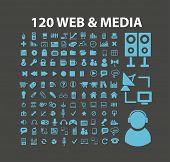 120 web, media icons, signs, symbols, illustrations set on background, vector