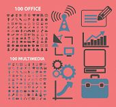 200 office, media, internet icons, signs, symbols, illustrations set on background, vector