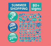 summer shopping stickers icons, signs, symbols, illustrations set on background, vector