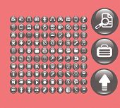 application black glossy round icons, signs, symbols, illustrations set on background, vector