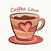 Coffee mug with heart shape