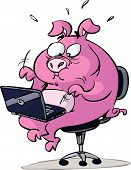 pink stressed pig with laptop