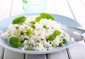 image of pea  - Minted rice with peas on plate selective focus - JPG
