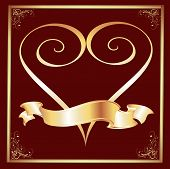 Maroon Background With A Gold Frame And Heart